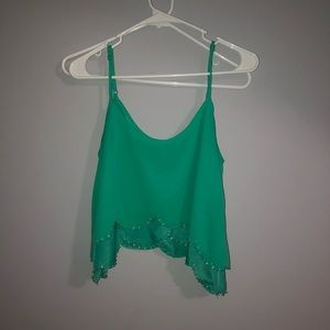 Bright green scalloped crop